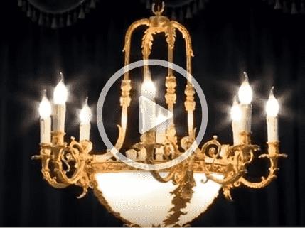 Đèn chùm đồng nguyên chất mạ vàng