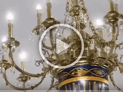 Đèn chùm đồng nến phòng thờ