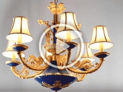 Đèn chùm đồng gốm chao vải cao cấp