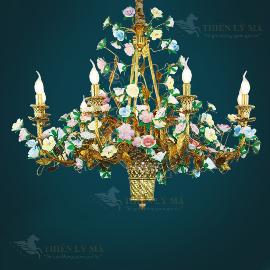Đèn chùm đồng hoa châu Âu