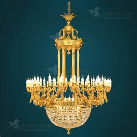 Đèn chùm đồng nến châu Âu mạ vàng