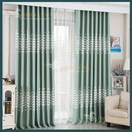 Rèm xanh trang trí phòng ngủ