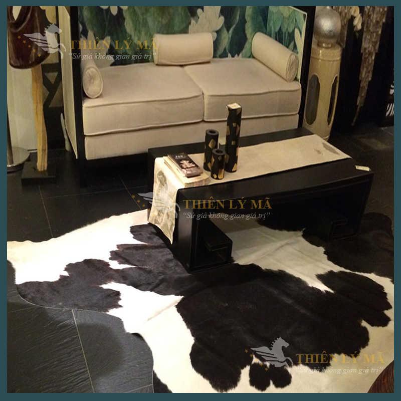 Thảm da bò thật Brazil cao cấp màu đen