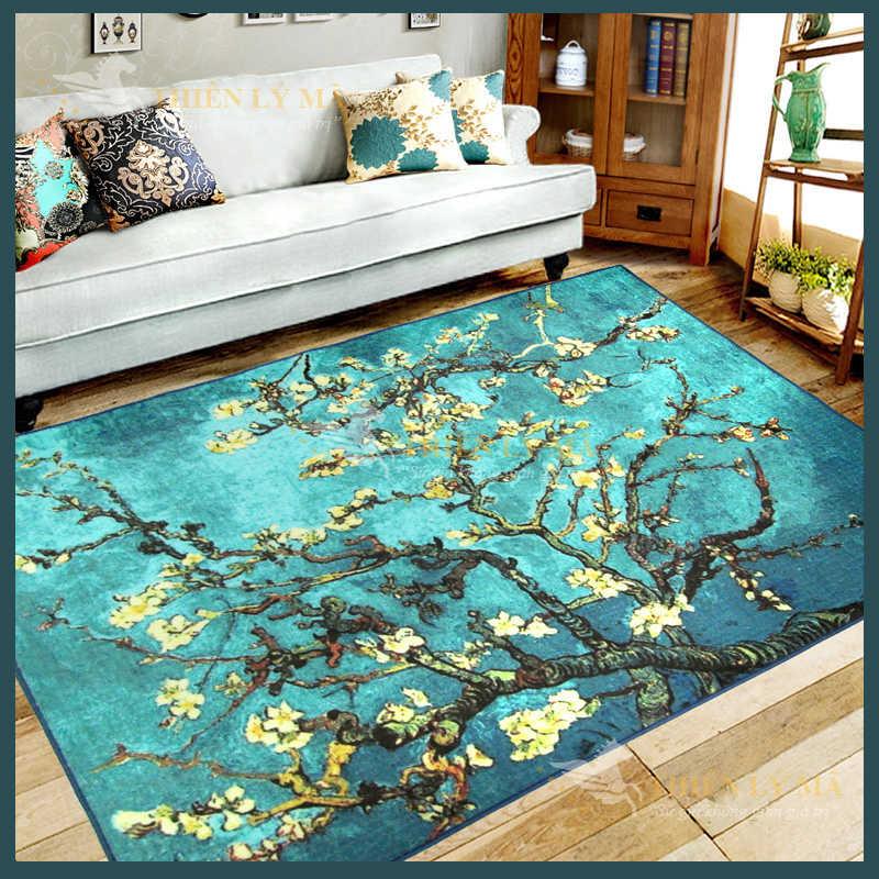 Thảm sofa trang trí màu xanh